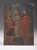 Antiques:Folk Art, Tin Retablo with Three Painted Saints ca early 1800s....
