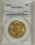 Kennedy Half Dollars: , 1969-D 50C MS66 PCGS. PCGS Population (88/3). NGC Census: (78/4).Mintage: 129,881,800. Numismedia Wsl. Price for NGC/PCGS ...