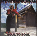 "Music Memorabilia:Autographs and Signed Items, Stevie Ray Vaughan Signed Copy of ""Soul to Soul"". A copy of thelate musician's 1985 LP, inscribed ""Soul to Soul!"" and signe...(Total: 1 Item)"