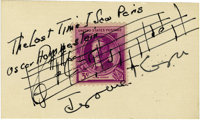 """Jerome Kern Autographed Card with Musical Notations. In 1941, Jerome Kern and Oscar Hammerstein wrote the song """"The..."""