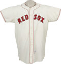 Baseball Collectibles:Uniforms, 1960 Boston Red Sox Game Worn Jersey, Number 5. Most likely worn by six-foot seven inch, 225-pound first baseman Ron Jackson...