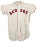 """Baseball Collectibles:Uniforms, 1959 Boston Red Sox Game Worn Jersey, Number 30. Home white flannel exhibits nice wear from either outfielder """"Big Bill"""" Ren..."""