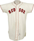 Baseball Collectibles:Uniforms, 1960 Boston Red Sox Game Worn Jersey, Number 30. Great catcher'swear is particularly evident where the chest protector stra...