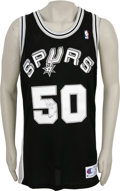 Basketball Collectibles:Others, David Robinson Signed Jersey. This new with tags Champion blackmesh San Antonio Spurs jersey has been signed on the from n...