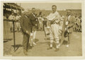 "Baseball Collectibles:Publications, 1927 Walter Johnson Service Photograph. Classic 7x10"" depiction ofthe Big Train is seen here as he receives an award for 20..."