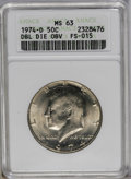 Kennedy Half Dollars: , 1974-D 50C Double Die Obverse MS63 ANACS. FS-015. NGC Census:(18/198). PCGS Population (13/273). Mintage: 79,066,304. Numi...