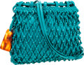 Luxury Accessories:Bags, Chanel Turquoise Woven Leather Shoulder Bag. ...