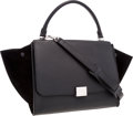 Luxury Accessories:Bags, Celine Black Suede & Leather Trapeze Bag with Shoulder Strap....