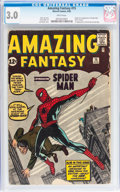 Silver Age (1956-1969):Superhero, Amazing Fantasy #15 (Marvel, 1962) CGC GD/VG 3.0 White pages....