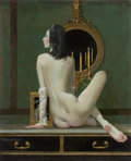 Pin-up and Glamour Art, ROBERT MCGINNIS (American, b. 1926). By Candlelight, 2013.Oil on board. 18.25 x 14.25 in.. Signed lower left. ...