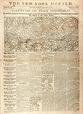"""Miscellaneous:Newspaper, [Civil War]. The New York Herald. February 18, 1862. Frontpage features """"Capture of Fort Donelson. The Relative..."""