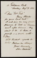 Autographs:Artists, Sir John Tenniel (1820-1914, British illustrator and politicalcartoonist) Autograph Letter Signed. August 9, 1883. Mourning...