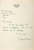 Autographs:Authors, Gladys Taber (1899-1980, American novelist and journalist)Autograph Letter Signed. N.d. Stationery. Measures 7.25 x 10.5in...