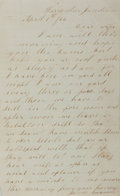 Autographs:Military Figures, [Civil War]. Private James Swanson Autograph Letter Signed. April 1, 1864. A very affectionate letter to his wife. Measures ...