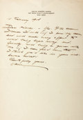 Autographs:Authors, Louis Joseph Vance (1879-1933, American novelist) Autograph Letter Signed. February 11, 1918. Stationery. Measures 7 x 11 in...
