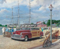 Mainstream Illustration, HARRY ANDERSON (American, 1906-1996). Mystic Seaport, Mystic,Connecticut, 1947 Chrysler, Great Moments in Early American ...