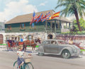 Mainstream Illustration, HARRY ANDERSON (American, 1906-1996). The Oldest House, St.Augustine, Florida, 1934 Chrysler Airflow, Great Moments inEa...