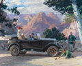 Mainstream Illustration, HARRY ANDERSON (American, 1906-1996). The Open Road InvitesSettlement, 1924 Chrysler, Great Moments in Early AmericanMot...