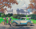 Mainstream Illustration, HARRY ANDERSON (American, 1906-1996). Washington, D.C., 1928Falcon-Knight, Great Moments in Early American Motoring. Go...