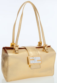 Fendi Metallic Gold Leather Bag with Crystal Closure
