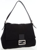 Luxury Accessories:Bags, Fendi Black Canvas Mama Baguette Bag. ...