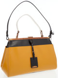 Luxury Accessories:Bags, Jil Sander Yellow & Black Leather Madame Pocket MD Bag. ...