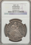 Seated Dollars: , 1849 $1 -- Scratches -- NGC Details. XF. NGC Census: (5/247). PCGSPopulation (37/289). Mintage: 62,600. Numismedia Wsl. Pr...