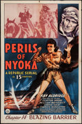 """Movie Posters:Serial, Perils of Nyoka (Republic, 1942). One Sheet (27"""" X 41"""") Chapter 14 -- """"Blazing Barrier."""" Serial.. ..."""