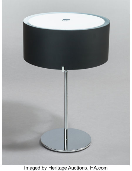 CHRISTIAN PLODERER (Austrian, b. 1956) CPL Table Lamp (Model T7), 2000 Chrome-plated metal with black blown glass diff... (Total: 2 Items)