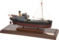 Paintings, MOTORIZED SCALE MODEL NEW ENGLAND FISHING TRAWLER. 18-1/2 x 24 x 6-1/2 inches (47.0 x 61.0 x 16.5 cm). Well built and presen...
