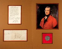 Charles Cornwallis Clipped Signature. Excised from a larger document, Lord Cornwallis signs at the end of a letter da