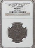 1787 1C Massachusetts Cent, Arrows in Left Talon VF25 NGC. NGC Census: (2/41). PCGS Population (16/101)....(PCGS# 302)