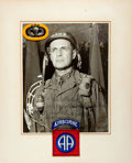"""Autographs:Military Figures, General Matthew Ridgway Inscribed Photograph Signed. 11.75"""" x 14.25"""" (sight), matted with insignia for the 505th Parachute I..."""