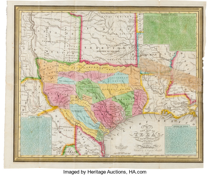 Map Of Texas In 1836.Samuel Augustus Mitchell A New Map Of Texas With The Contiguous