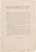 Miscellaneous:Broadside, [Mexican War]. Pedro de Ampudia Broadside Outlawing Aid or TradeWith the Enemy. ...