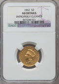 Three Dollar Gold Pieces, 1862 $3 -- Improperly Cleaned -- NGC Details. AU....