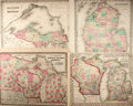 Books:Maps & Atlases, [Maps]. Group of Three Maps Depicting Wisconsin, Michigan and Minnesota. One drawn by Samuel Augustus Mitchell. 1855, 1867. ...