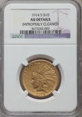 Indian Eagles, 1914-S $10 -- Improperly Cleaned -- NGC Details. AU. NGC Census:(24/938). PCGS Population (29/813). Mintage: 208,000. Numi...