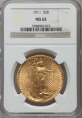 Saint-Gaudens Double Eagles: , 1911 $20 MS62 NGC. NGC Census: (929/963). PCGS Population(669/1210). Mintage: 197,200. Numismedia Wsl. Price for problemf...