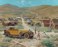 Mainstream Illustration, HARRY ANDERSON (American, 1906-1996). Gold Ghost Town, Bodie,California, 1932 Lincoln Convertible, Great Moments in Early...
