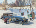 Illustration:Advertising, HARRY ANDERSON (American, 1906-1996). America's Luxury Cars,1929 Duesen Berg calendar illustration, Great Moments inEarl...