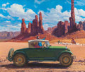 Illustration:Advertising, HARRY ANDERSON (American, 1906-1996). Navajo Indians, 1927 Nash,Great Moments in Early American Motoring. Gouache on bo...