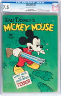 Golden Age (1938-1955):Cartoon Character, Four Color #27 Mickey Mouse (Dell, 1943) CGC VF- 7.5 Cream tooff-white pages....