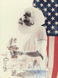 DAVID HAMMONS (American, b. 1943) Feed Folks, 1974 Mixed media 39-3/4 x 29-1/2 inches (101.0 x 74