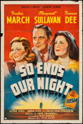 "Movie Posters:War, So Ends Our Night (United Artists, 1941). One Sheet (27"" X 41"").War.. ..."
