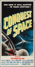 "Movie Posters:Science Fiction, Conquest of Space (Paramount, 1955). Three Sheet (41"" X 79"") &Lobby Cards (2) (11"" X 14""). Science Fiction.. ... (Total: 3 Items)"