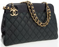 Luxury Accessories:Bags, Chanel Green Quilted Fabric Day Bag with Patent Leather Accents....