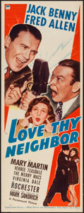 "Movie Posters:Comedy, Love Thy Neighbor (Paramount, 1940). Insert (14"" X 36""). Comedy....."