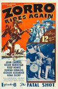 "Movie Posters:Serial, Zorro Rides Again (Republic, 1937). One Sheet (27"" X 41"") Episode 6-- ""The Fatal Shot."". ..."