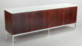 Furniture , FLORENCE KNOLL (American, b. 1917). Four-door credenza. Rosewood, marble, chrome-plated steel. 25-1/2 x 74-1/2 x 18 inch... (Total: 2 Items)